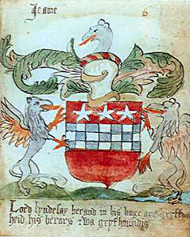 Arms of Lord Lindsay of the Byres. The Slains Roll, ca. 1567, folio 70.