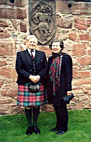 Lord and Lady Crawford in the Pleasance at Edzell Castle