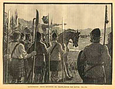 Robert the Bruce instructing his soldiers at the Battle of Bannockburn.