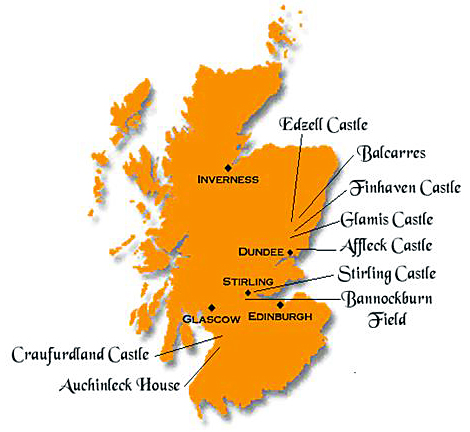 Map of Scotland showing locations of castles and other location described below the photo